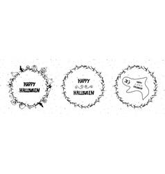 set of happy halloween vintage badges emblems vector image