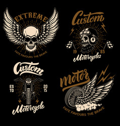 Set of racer emblem templates with motorcycle vector