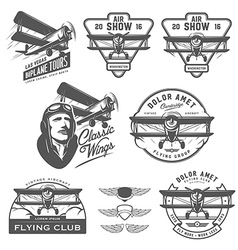 set vintage biplane emblems design elements vector image