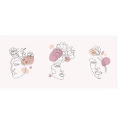 set women faces line art vector image