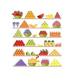 Shelves with fruits for your design vector