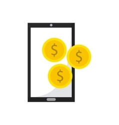 smartphone device with business icon vector image