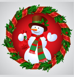 Snowman in green holly wreath round frame with a vector