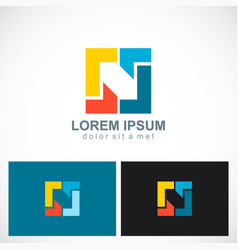 Square geometry colorful technology logo vector