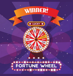 square poster or flyer for fortune wheel winner vector image