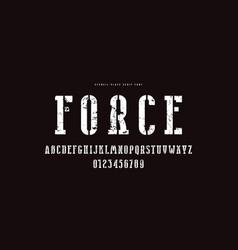 Stencil-plate narrow serif font vector