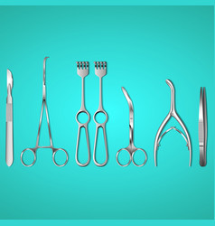 surgeon instruments on blue background vector image