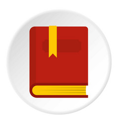Thick book with bookmark icon circle vector