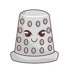 Thimble tool character comic icon vector image