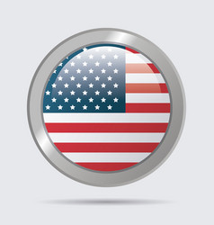 usa flag glossy button emblem design vector image