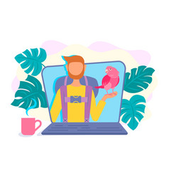 video blogger vloger on the laptop screen in a vector image