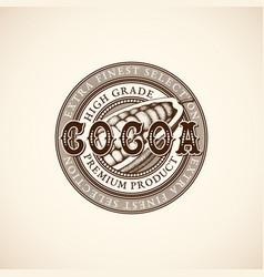 Vintage cocoa label vector