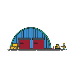 Warehouse with round roroller shutters and vector
