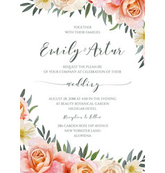 Wedding floral invite invitation cute card design vector