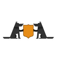 Wolf and shield heraldic symbol werewolf forest vector