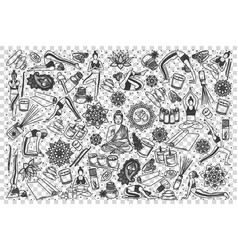 yoga doodle set vector image