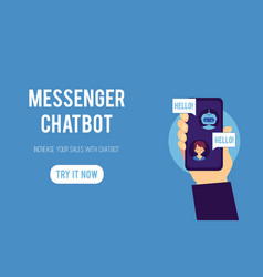 young man dialog with chat bot vector image