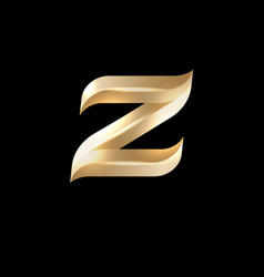 z letter monogram volume gold with facets vector image