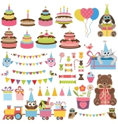 Birthday party elements set with cake sweets and vector image vector image