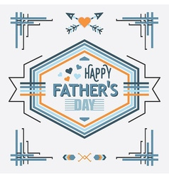 Blue Happy Fathers day line decoration message vector image