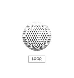 halftone 3d sphere isolated on white background vector image