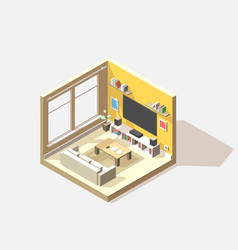 isometric low poly living room cutaway icon vector image