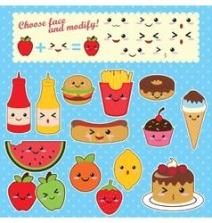 kawaoo food set vector image