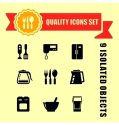 kitchen ware quality icon set vector image
