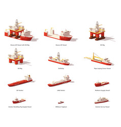 low poly offshore oil exploration vessels vector image vector image