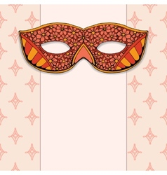 Masquerade mask on a rose background vector image