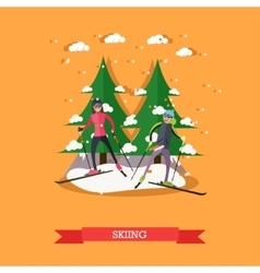 people skiing in flat vector image vector image
