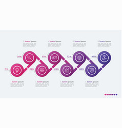 timeline infographic design with ellipses 8 steps vector image vector image