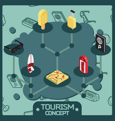 tourism color isometric concept icons vector image vector image