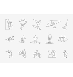 Extreme sports or outdoor activity in line style vector image vector image