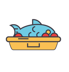 fried fish food concept line icon vector image