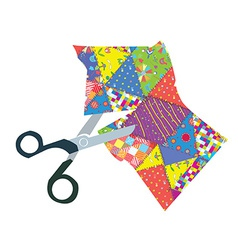Quilt and scissors vector image vector image