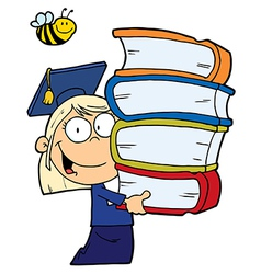 School Girl Carrying A Stack Of Books vector image vector image
