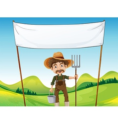 A farmer below the empty signage vector image vector image