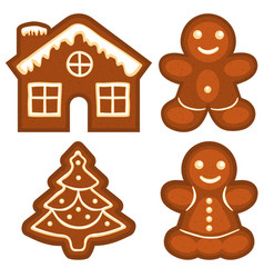 ginger bread cookie icon logo colorful bright set vector image vector image
