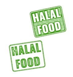 Set of realistic Halal Food rubber stamp vector image vector image