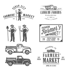 Vintage farming labels badges and design elements vector image vector image