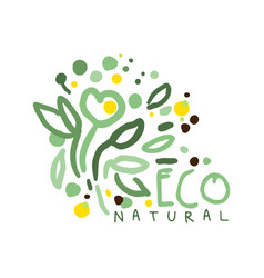 eco natural label logo graphic template hand vector image vector image