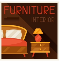 Interior with furniture in retro style vector image vector image