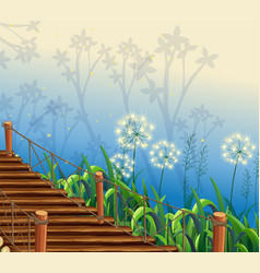 nature scene with wooden bridge vector image
