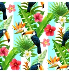 Rainforest Toucan Flat Seamless Pattern vector image vector image