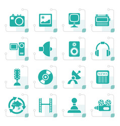 stylized media and household equipment icons vector image