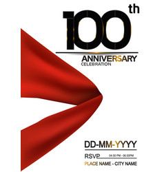 100 anniversary design with big red ribbon vector