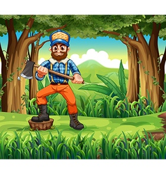 A woodman stepping at a stump in the forest vector