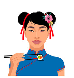 Asian woman with sushi vector