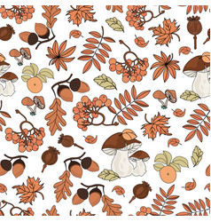 autumn pattern nature seamless background vector image